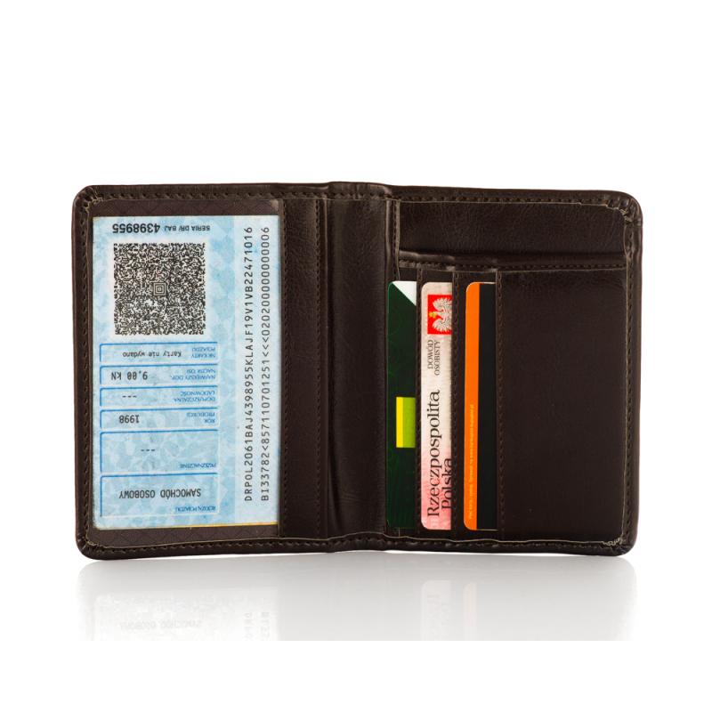 1fa81bb1911a Brązowy slim wallet cienki portfel etui na karty - Gentle Man