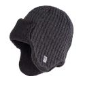 Ciemnoszara ciepła męska czapka uszatka