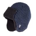 Granatowa ciepła męska zimowa czapka uszatka