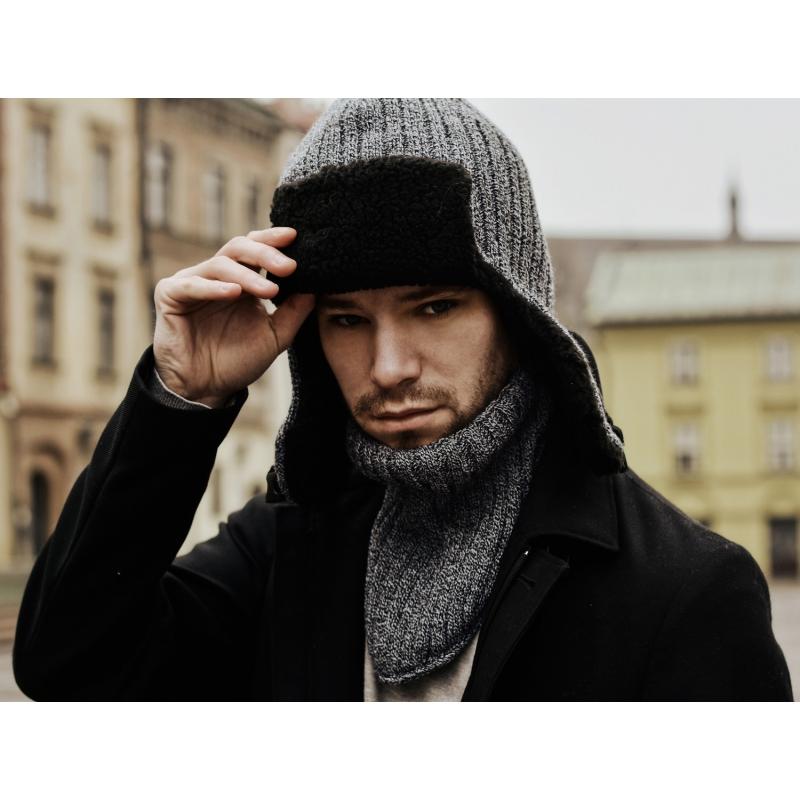 1595c71fe9d7d7 Zimowa ciepła czapka męska uszatka czarna - Gentle Man