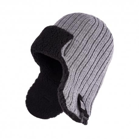 Zimowa czapka męska uszatka jasnoszara