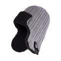 Zimowa ciepła czapka uszatka męska jasnoszara