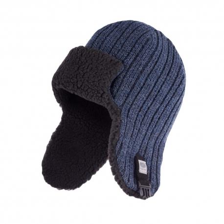 Zimowa czapka uszatka męska granatowa