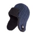 Zimowa ciepła czapka uszatka męska granatowa