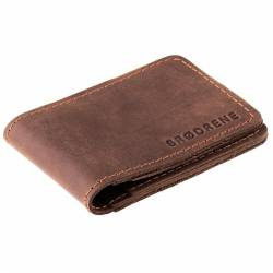Ciemno brązowy cienki portfel slim wallet brodrene sw02