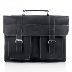 Czarna licowa ekskluzywna torba skórzana vintage paolo peruzzi