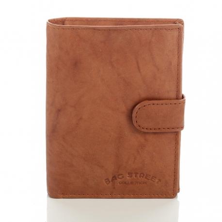 Koniakowy skórzany klasyczny męski portfel z patką