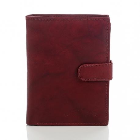 Brązowy skórzany klasyczny męski portfel z patką