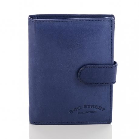 Niebieski skórzany klasyczny męski portfel z patką