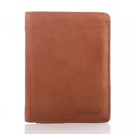 Koniakowy elegancki skórzany portfel franko