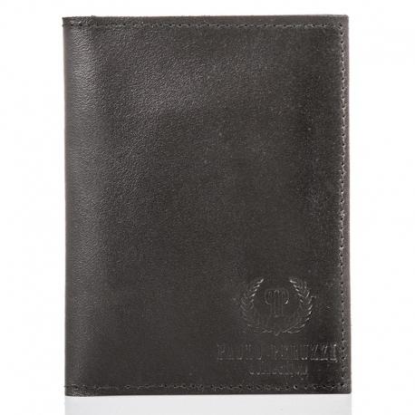 Cienki skórzany portfel męski slim paolo peruzzi brązowy