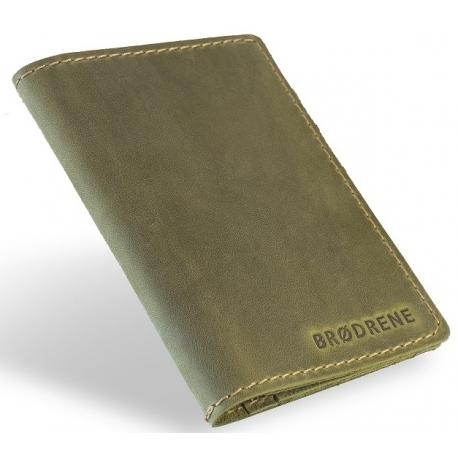 Oliwkowy skórzany portfel slim wallet brodrene sw01