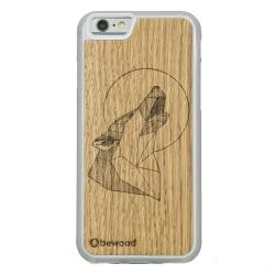 Drewniane etui iPhone 6/6S Wilk Dąb Przezroczysty Geometric Animal