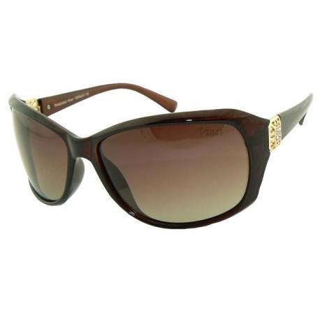 Brązowe damskie okulary przeciwsłoneczne z polaryzacją