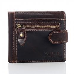 Brązowy mały męski portfel ze skóry naturalnej