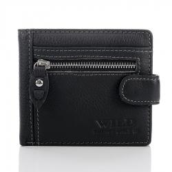Mały czarny męski portfel ze skóry naturalnej