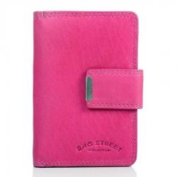 Różowy portfel damski ze skóry naturalnej