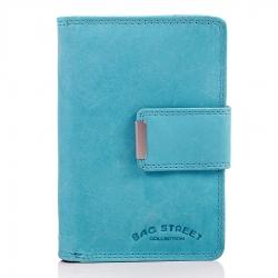 Błękitny portfel damski ze skóry naturalnej
