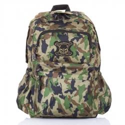 Zielony szkolny plecak moro czaszka