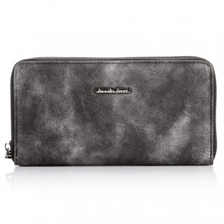 Czarny damski portfel kopertówka ze skóry syntetycznej