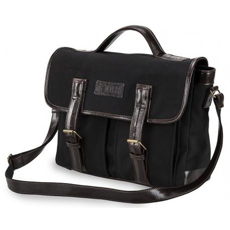 997ae030302a4 Skórzana czarna torba męska na ramię na laptop solier SL14 hike ...