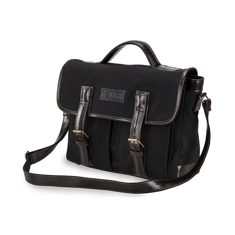b52c8a0e372e4 Skórzana czarna torba męska na ramię na laptop solier SL14 hike ...