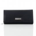 Czarny duży damski portfel ze skóry
