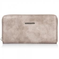 Beżowy damski portfel kopertówka ze skóry