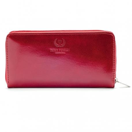 Czerwony włoski ekskluzywny portfel damski ze skóry naturalnej