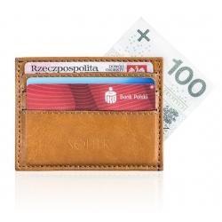 Skórzany jasno brązowy portfel wizytownik męski solier SA13
