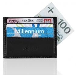 Skórzany czarny portfel wizytownik męski solier SA13
