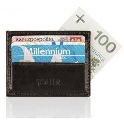 Skórzany brązowy portfel wizytownik męski solier SA13