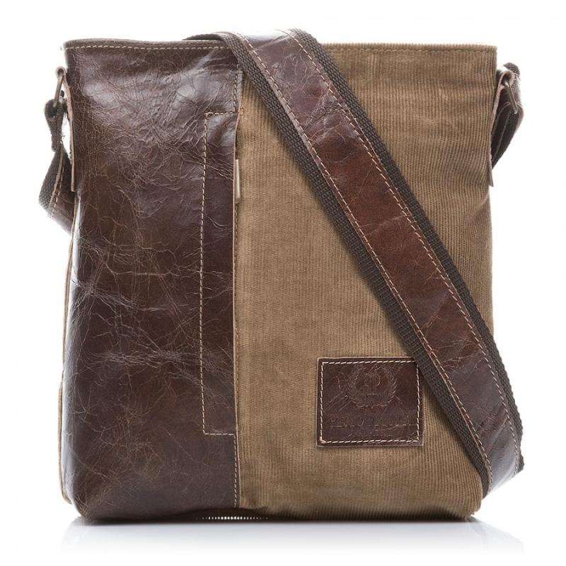 c0e5155718f1c Brązowa pojemna skórzana torba listonoszka - Gentle Man