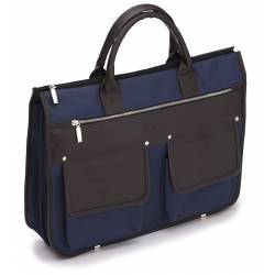 Męska nowoczesna torba, teczka solier S24 galston navy/brown