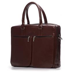 Męska brązowa skórzana torba na ramię, laptopa solier dundee SL01