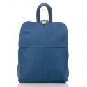 Niebieski plecak damski z naturalnej skóry
