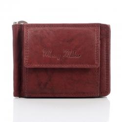 Skórzana wiśniowa męska banknotówka