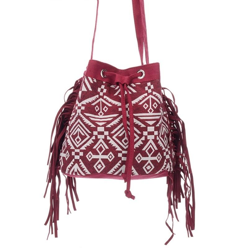 8ea87f1321c97 Czerwona damska torebka na ramię boho frędzle - Gentle Man