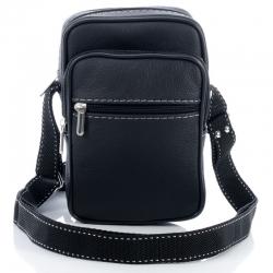 Czarna skórzana męska torba na ramię raportówka
