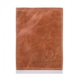 Cienki skórzany portfel męski slim paolo peruzzi jasnobrązowy