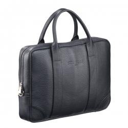 Czarna skórzana torba biznesowa na laptopa