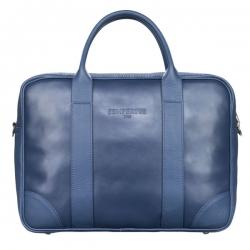 Niebieska skórzana torba biznesowa na laptopa