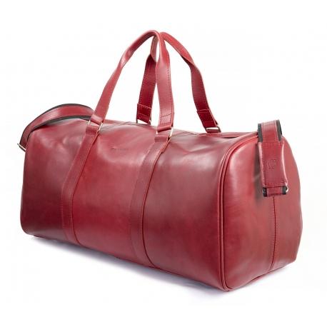 Skórzana torba podróżna na ramię brodrene bl20 czerwona smooth leather