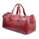 Skórzana torba podróżna na ramię brodrene r20 czerwona smooth leather
