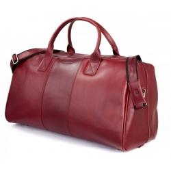 Skórzana torba podróżna na ramię brodrene bl30 czerwona smooth leather