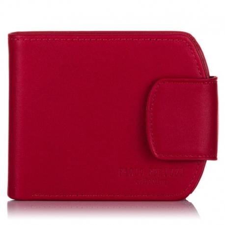 Czerwony skórzany damski portfel