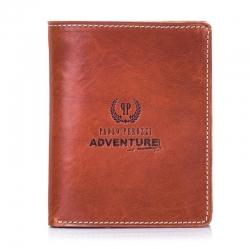 Brązowy elegancki męski cienki portfel