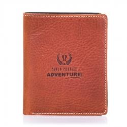 Brązowo czarny skórzany męski cienki portfel
