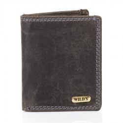 Czarny poręczny mały skórzany portfel męski