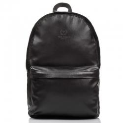 Skórzany czarny plecak szkolny